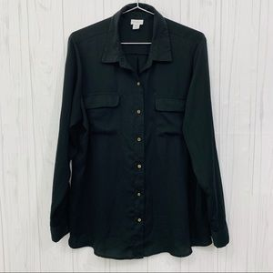 🍍3/$15 JACLYN SMITH BLACK BUTTON FRONT BLOUSE XXL